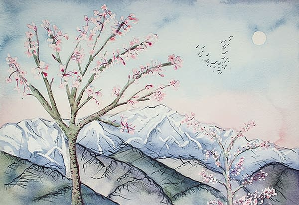 Cherry Blossom and Mountain Local Artist Somerset Art Shop