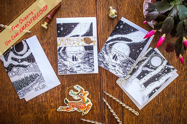 Pack of 6 Unique Local Artist Christmas Cards